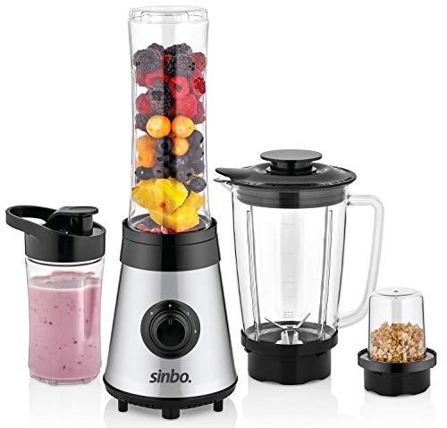 3in1 Standmixer | Smoothie Maker | Kaffeemühle | Smoothie to go Mixer | Universal Mixer | Glas Behälter | Universal Power Mixer | 24.000 U/min | Edelstahl | 800ml 600ml 300ml Behälter BPA FREI
