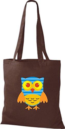 ShirtInStyle Jute Stoffbeutel Bunte Eule niedliche Tragetasche mit Punkte Karos streifen Owl Retro diverse Farbe, rot braun