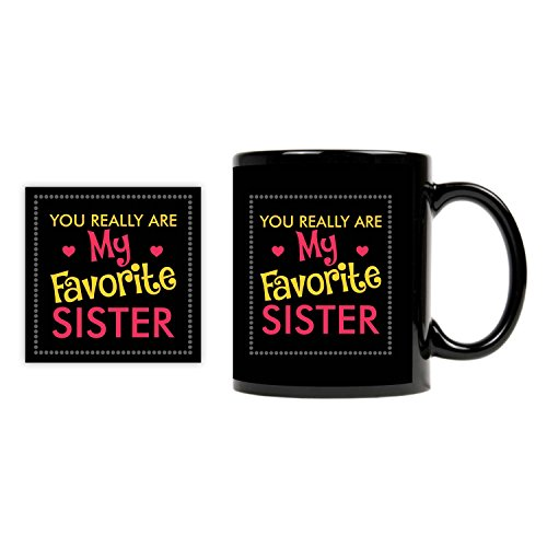TYYC Bhai Dooj Diwali Gifts for Sister, Favourite Sister Coffee Mug with Coaster set of 2  available at amazon for Rs.399