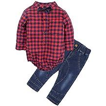 BIG ELEPHANT Bebés Juego de ropa de la camisa de los pantalones vaqueros de  2 pedazos aa74e0c461fd