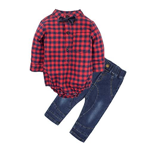 BIG ELEPHANT Baby Jungen'2 Stück Jeans Shirt Bekleidung Set mit Bowtie G24-Red-80