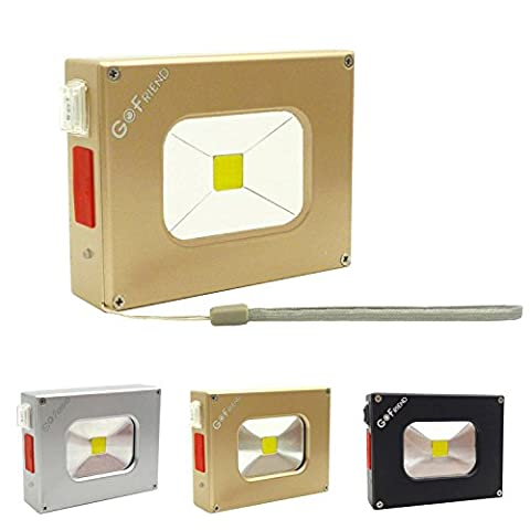 Mini lampe de poche Gofriend® ; 10W ; LED ; très mince ; lampe de poche USB extérieur ; étanche ; banque d'alimentation 500lm, 4000mA ; batterie rechargeable pour le camping, la randonnée, les pannes d'électricité et les urgences.