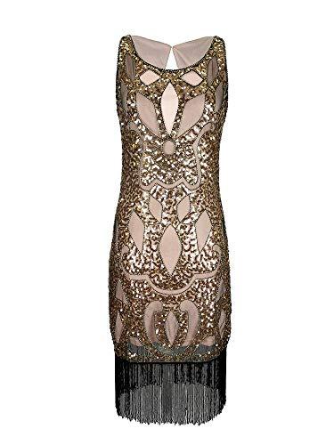Grouptap Beige doré années 1920 Flapper Gatsby soirée Robe de Danse Fantaisie Femmes Filles Taille 1920 Paillettes Gland Vintage vêtements de Mode (Campagne Doré, EU 38)