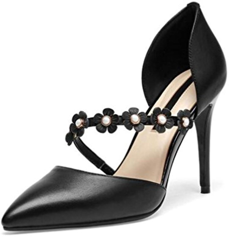 Zapatos de mujer piel genuina Punta puntiaguda Flor Tacón de aguja Zapatillas Tamaño 35 a 38 , Black , EU35 -