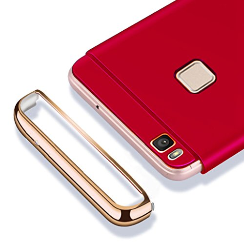 Custodia Huawei P9 Lite, Yoowei Cover Huawei P9 Lite 3 in 1 Alta Qualità Ultra Sottile Piena Protezione PC Shell Duro Retro Custodia per Huawei P9 Lite 5.2, Nero Silky Red