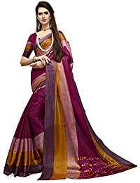 Magenta Printed Khadi Bhagalpuri Art Silk Saree Sari With Blouse Piece