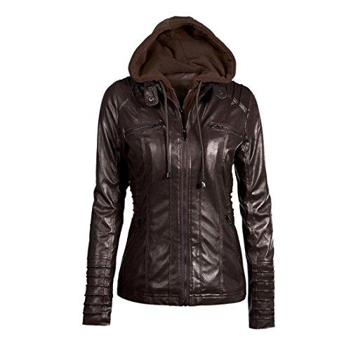 Zip Kaffee (Winter Hooded Jacke Damen Btruely Warm Mädchen Parka Damen Revers abnehmbarer Reißverschluss Mantell Slim Outwear (XXL, Kaffee))