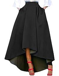 f30050bcfd1aa Semen Femme Robe Skit Longue Haute Vintage Fille Jupe Longue Plissée Haut  Bas Chic Rétro Robe