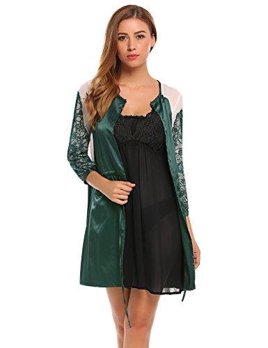 FANEO Damen Satin Kimono Bademantel Langarm Morgenmantel O-Ausschnitt Seide Spitze Patchwork Bademantel Nachthemd - Grün - Medium (Pflege-langarm-nachthemd)