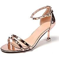 KPHY-Los Dedos De Los Pies Zapatos De Verano De Dama De Honor Remaches Tacon 33a8943efef8