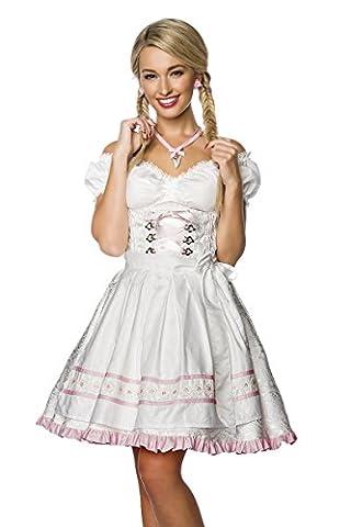 Luxus Designer Dirndl mit Schürze Kleid Dirndkleid Oktoberfest Tracht Trachtenkleid Spitze Brokat Paspelierung Rüschen Borte Weiß Mint Grün Rosa XS - 3XL