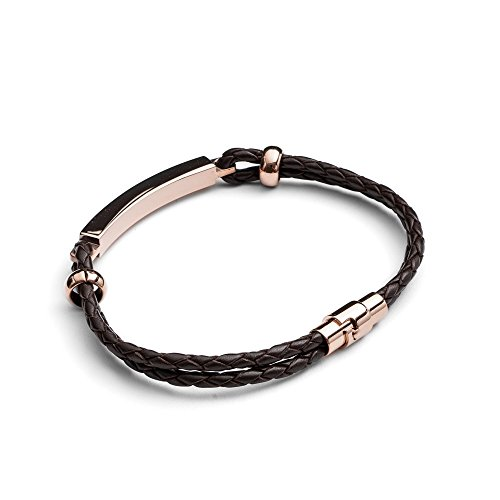 Image of Tribal Steel Brown Plaited Leather ID Bracelet for Men with Rose Gold Ion Plating of Length 21cm