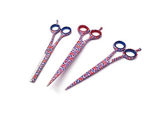 Ni Razor (Professional Hair Dressing Schere 3-teiliges Set trimmen und Effilierschere + Geldbörse Leder | Nova Razor Edge Haar trimmen Schere England Flagge Design B217)