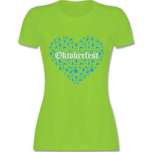 Oktoberfest Damen - Oktoberfest Herz - tailliertes Premium T-Shirt mit Rundhalsausschnitt für Damen Hellgrün