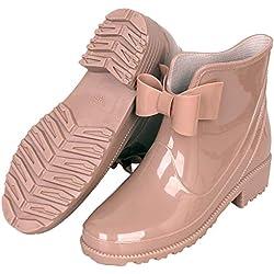 YOOEEN Botas de Agua Mujer Cortas Botas de Goma Antideslizante Botines de Lluvia Impermeables Zapatos de Jardín Elegante Calzado de Trabajo con Lindo Bowknot Talla 36-44