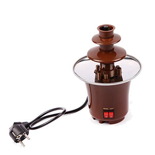 DIOE Mini 3-Schicht-Schokoladenbrunnen-Maschine für den Haushalt | Edelstahl-Schokoladen-Wasserfall-Maschine, Selbsterhitzung, Activity Party DIY, Braun -