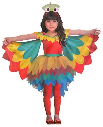 Brandsseller Mädchen Kostüm Verkleidung Fasching Karneval Party - Papagei S (4-6 Jahre) (Papagei Kostüm Mädchen)