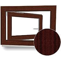 Kellerfenster - Kunststoff - Fenster - Braun (Mahagoni Holzoptik) / weiß - BxH: 100 x 60 cm - DIN Rechts