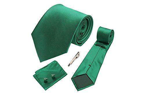 Coffret Rabat - Cravate vert impérial, boutons de manchette, pince à cravate, pochette de costume