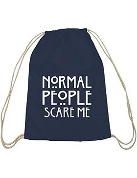Shirtstreet24, AHS - Normal People Scare Me, Baumwoll natur Turnbeutel Rucksack Sport Beutel