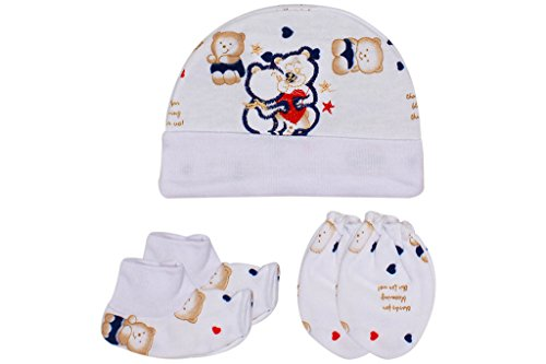 Ole Baby Soft Organic Cotton Caps, Mittens & Booties Combo Set For New Born Baby (0-9 Months)  available at amazon for Rs.199