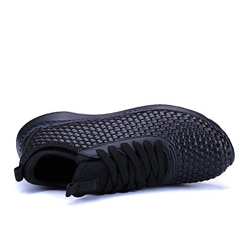 ASHION Männer Schuhe Schuhe Freizeitschuhe leichte atmungs gewebt Schuhe, weiße Schuhe laufen Schwarz