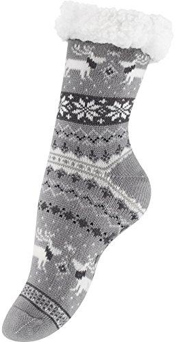 """Dicke Warme Hüttensocken mit Teddyfell und Antirutschsohle - One Size (36-41)Diese warmen Socken fühlen sich unglaublich weich an.Doppellagig gearbeitet, innen mit weichem Plüsch.Zudem wirken diese """"Hüttensocken"""" Feuchtigkeitsregulierend und Temperat..."""