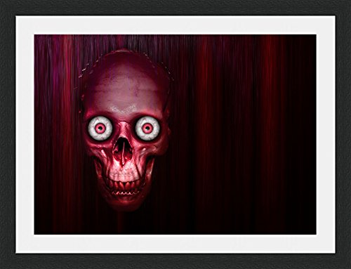 blood-red-skull-animated-framed-mounted-40x30cm-black-frame