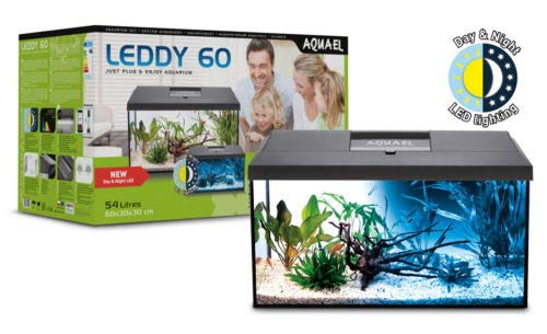 Aquael Aquarium Set Leddy LED komplett inkl. Abdeckung, Filter, Heizer, Day & Night LED (60x30x30cm schwarz)