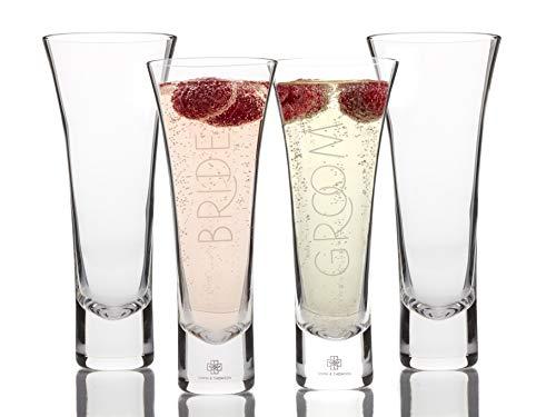 Elegante Stiellose Champagnergläser, Braut und Bräutigam, 4 Stück, mundgeblasene Kristall-Champagnergläser für Hochzeit, Toast, Verlobung - für Sie und Ihn (Hübsche Gläser Wein Für Frauen)