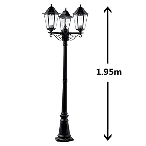 Traditional Victorian Style 1.95m Black 3 Way IP44 Outdoor Garden Lamp Post Light