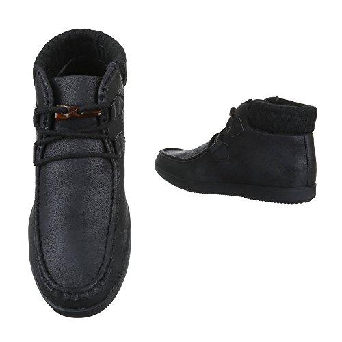 Stiefeletten Herren Schuhe Bequeme Schnürsenkel Ital-Design Boots Schwarz