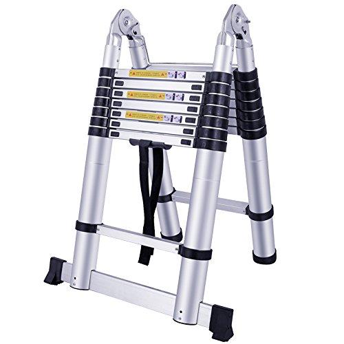 FROADP 500cm Alu-Teleskopleiter Klappleiter Multifunktion Anlegeleiter Mehrzweckleiter - 16 Sprossen Gefaltete Höhe 90cm - Hochwertigem Aluleiter 150 kg Belastbarkeit