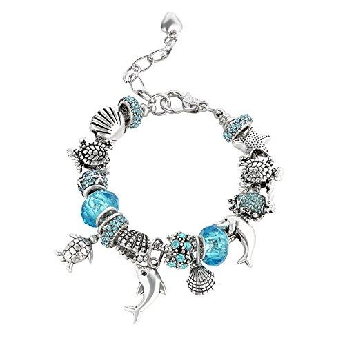 majesto–Blauer Delfin Schildkröte Perlen Charm-Armbänder für Teen Mädchen Frauen Geschenke verstellbar passt 15,2–21,6cm Draht-armband-charms