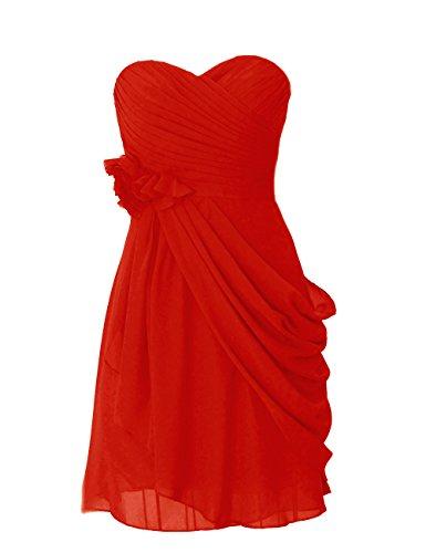 Dresstells, robe courte de demoiselle d'honneur mousseline avec fleurs Rouge