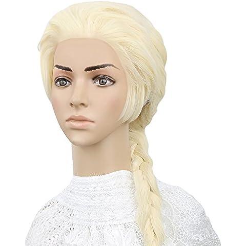 Spaire Cosplay Età Donne Lungo Beige Elsa Treccia Parrucca per Halloween Party con La Protezione (Autentica Degli Accessori Del Costume Disney)