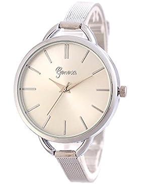 XLORDX Mode Damenuhr Silber Gitter Edelstahl Quartz Analog Uhr Sportuhr Hours Watch