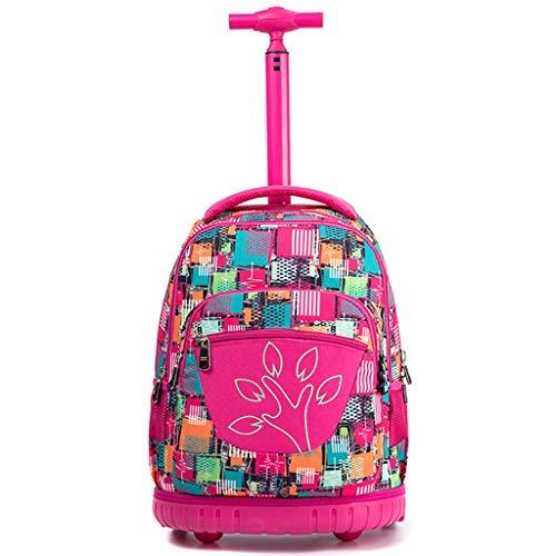 YEXIN Kinder drucken Muster Trolley Schultasche - Wasserdichte rollende Rollrucksack für Mädchen und Jungen Schule Laptop Bücher Tasche, 2 Rädern Nylon Schulrucksack (Farbe : Style A) Nylon Notebook-tasche