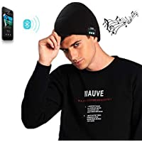 EXCOUP Bluetooth Beanie Hat, Winter Knit Wireless Cap Music Beanie with Stereo Headphones Headset Speaker Mic Rechargeable Battery Hands Free for Men Women Black