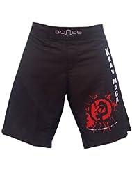 """'""""Bones Fight > Fight Short, MMA Short, BJJ, MMA Pantalones Cortos, Freefight–Pantalones cortos, Krav Maga, color negro, rojo, blanco, tamaño XL"""
