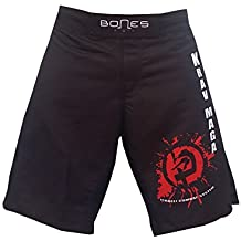 """'""""Bones Fight > Fight Short, MMA Short, BJJ, MMA Pantalones Cortos, Freefight–Pantalones cortos, Krav Maga, color negro, rojo, blanco, tamaño M"""