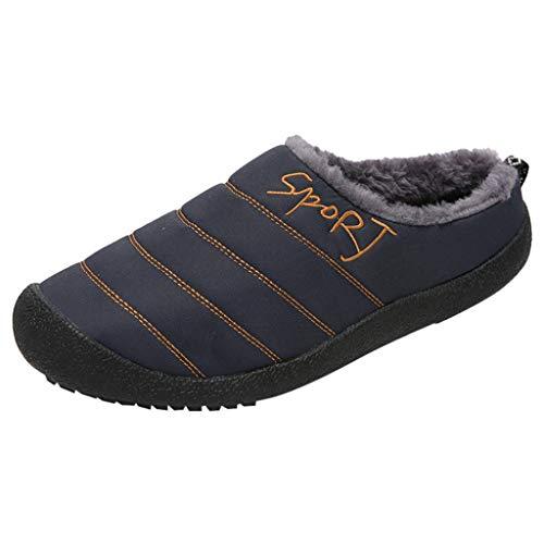 HDUFGJ Herren & Damen Hausschuhe Plus Samt Warm halten Hausschuhe aus Baumwolle, Gefütterte Antirutsch Pantoffeln Flache Hausschuhe40 EU(Blau)