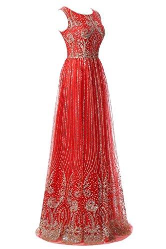 Sunvary Elegant Rund Mermaid Chiffon Lang Armlos Perlen Pailette 2016 Neu Abendkleider Mutterkleider Partykleid Rot