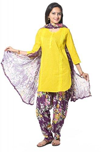 Purple Printed Floral Patiala Salwar and Dupatta Set