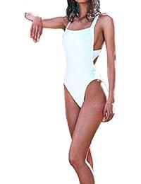Bañadores Deportivas Mujer,Xinan Una Pieza Sólida sin Espalda del Traje de Baño Bikini