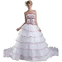 George Bride geschichteten Organza Capilla schlepp vestido de novia con aplicaciones rojas Vestidos de novia Vestidos
