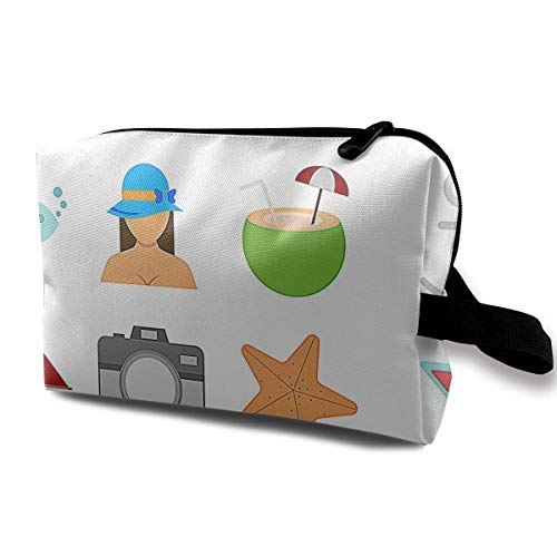 Beach Theme Icon Portable Travel Makeup Bag,Storage Bag Portable Ladies Travel Square Cosmetic Bag