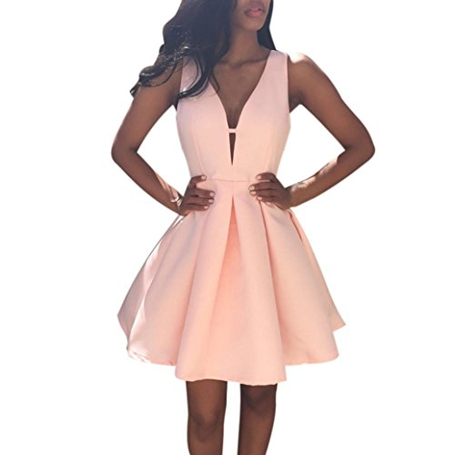 mile Frauen Sommer V Neck ärmellose Cocktail Party Kleid Pink Solid Sexy Minikleid über Knie Mini Rock mit Zipper Sommer Mode Party Kleidung Streetwear (S, Rosa) (Clearance Prinzessin Kostüme)
