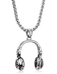 LUXUSTEEL collana da uomo in acciaio INOX DJ cuffie Punk Rock musica  auricolare maschio per 3cd148c0714c