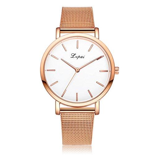 Souarts Damen Armbanduhr Einfach Mesh Metallarmband Casual Analoge Quarz Uhr Rosa gold Farbe